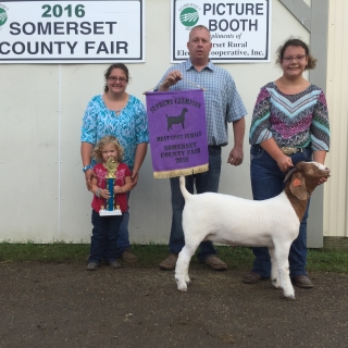 Tessa Stahl, Big B Show Feeds,Supreme Champion felmale goat, Somerset County Fair