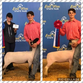kolby bruhn grand champion and reserve champ southdown east texas fair